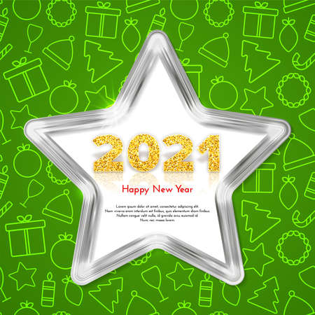 Golden numbers 2021 with reflection and shadow. Holiday gift card Happy New Year with shiny silver star frame and traditional Christmas icons patterns on background. Celebration decor. Vector template illustration. 일러스트