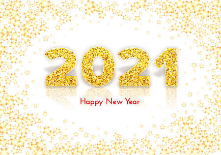 Golden numbers 2021 with reflection and shadow. Holiday gift card Happy New Year with gold stars on white background. Celebration decor. Vector template illustration
