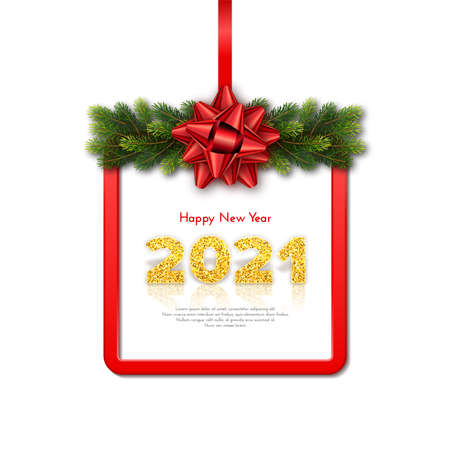 Golden numbers 2021 with reflection and shadow on white background. Holiday gift card Happy New Year with fir tree branches garland, red frame and bow. Celebration decor. Vector template illustration 일러스트