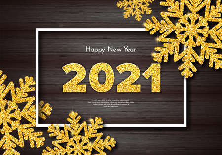 Golden numbers 2021 on wood background. Holiday gift card Happy New Year with gold sparkling snowflakes. Celebration decor. Vector template illustration