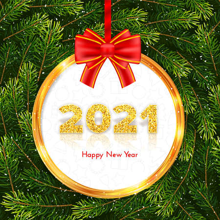 Golden numbers 2021 with reflection and shadow. Holiday gift card Happy New Year with red bow, gold frame and fir tree branches wreath on background. Celebration decor. Vector template illustration 矢量图像