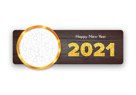 Holiday gift card Happy New Year 2021 on wood background. Golden frame with icons background. Celebration decor. Vector template illustration