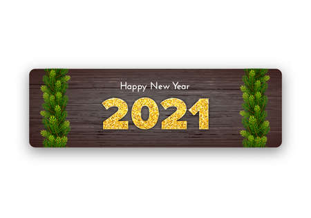 Golden numbers 2021 on wood background. Holiday gift card Happy New Year with fir tree branches garland. Celebration decor. Vector template illustration 일러스트