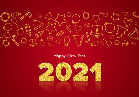 Golden numbers 2021 with reflection and shadow on red background. Holiday gift card Happy New Year with traditional icons. Celebration decor. Vector template illustration