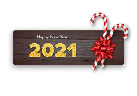 Happy New Year card 2021. Holiday candy canes and red bow on wood background. Celebration decor. Vector template illustration