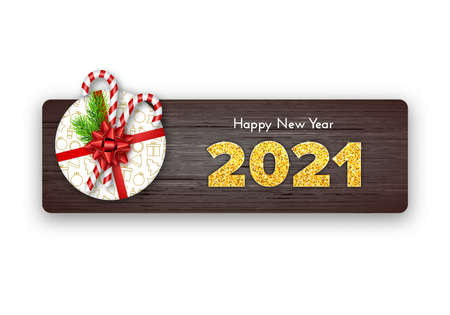 Happy New Year card 2021. Holiday gift with fir tree branches, candy canes and red bow on wood background. Celebration decor. Vector template illustration 일러스트