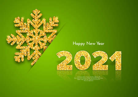 Golden numbers 2021 with reflection and shadow on green background. Holiday gift card Happy New Year with shining snowflake. Celebration decor. Vector template illustration
