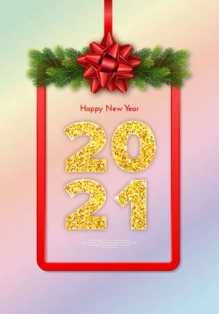Golden numbers 2021. Holiday gift card Happy New Year with fir tree branches garland, red frame and bow. Celebration decor. Vector template illustration