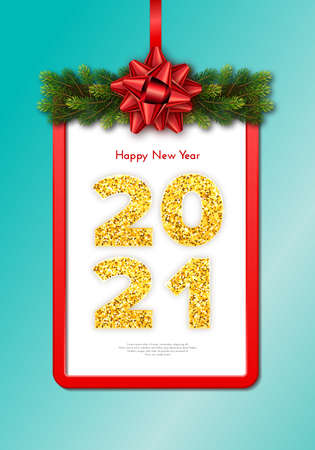 Golden numbers 2021 with reflection and shadow on turquoise background. Holiday gift card Happy New Year with fir tree branches garland, red frame and bow. Celebration decor. Vector template illustration.