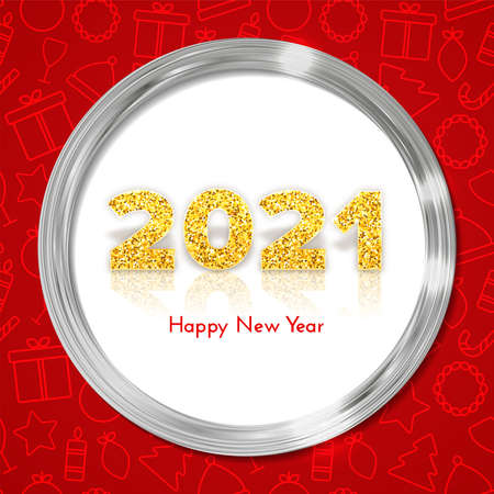 Holiday gift card Happy New Year with red traditional icons background. Golden numbers 2021 with reflection and shadow in silver frame. Celebration decor. Vector template illustration