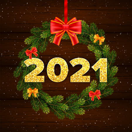 Holiday gift card Happy New Year with fir tree branches wreath. Golden numbers 2021 with shadow on wood background. Celebration decor. Vector template illustration