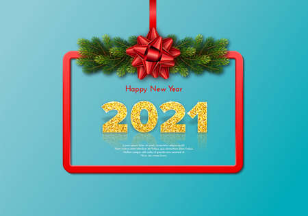 Golden numbers 2021 with reflection and shadow on blue background. Holiday gift card Happy New Year with fir tree branches garland, red frame and bow. Celebration decor. Vector template illustration