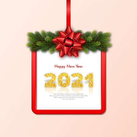 Golden numbers 2021 with reflection and shadow on beige background. Holiday gift card Happy New Year with fir tree branches garland, red frame and bow. Celebration decor. Vector template illustration