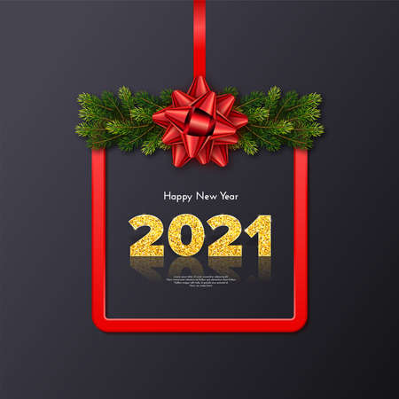 Golden numbers 2021 with reflection and shadow on black background. Holiday gift card Happy New Year with fir tree branches garland, red frame and bow. Celebration decor. Vector template illustration
