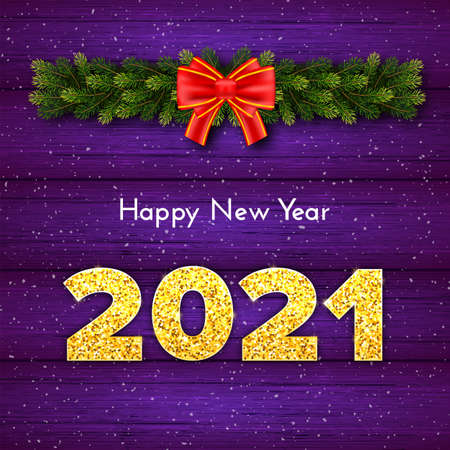 Holiday gift card Happy New Year with fir tree branches garland, red bow and snow. Golden numbers 2021 with shadow on wood violet background. Celebration decor. Vector template illustration 일러스트