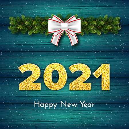 Holiday gift card Happy New Year with fir tree branches garland, white bow and snow. Golden numbers 2021 with shadow on wood turquoise background. Celebration decor. Vector template illustration