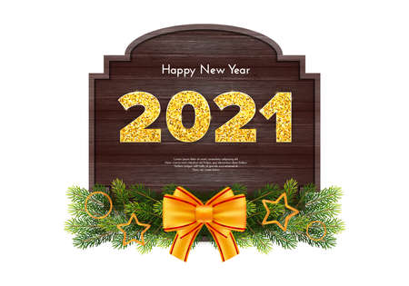 Golden numbers 2021 with reflection and shadow on wood background. Holiday gift card Happy New Year with fir tree branches garland and bow. Celebration decor. Vector template illustration