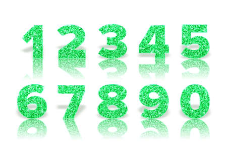 Green numbers with reflection and shadow in royal style isolated on white background. Template for invitation card and sale banner. Holiday decoration. Vector