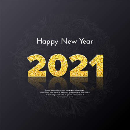 Golden numbers 2021 with reflection and shadow on black background. Holiday gift card Happy New Year with fir tree branches. Celebration decor. Vector template illustration 일러스트