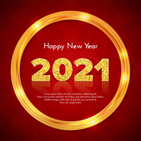 Golden sparkling frame and numbers 2021 with reflection and shadow on red snowflake background. Holiday gift card Happy New Year. Celebration decor. Vector template illustration