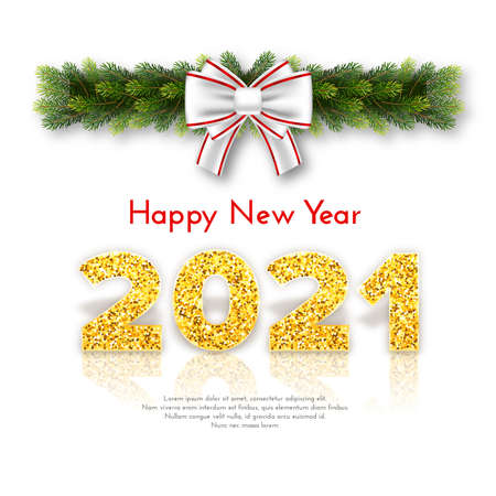 Golden numbers 2021 with reflection and shadow on white background. Holiday gift card Happy New Year with fir tree branches garland and white bow. Celebration decor. Vector template illustration