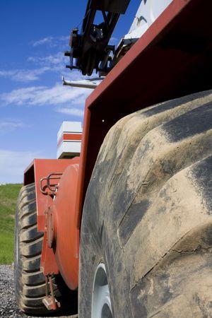 Closeup of mobile crane. Focus on tire.