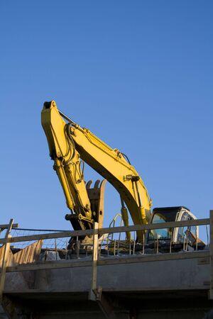 Excavator on bridge Stock fotó