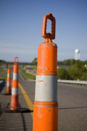 Pylon indicating construction on on ramp