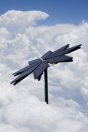 shaped: Flower shaped solar panel amongst the clouds Stock Photo