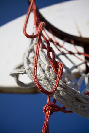 the height of a rim: Closeup of old basketball net