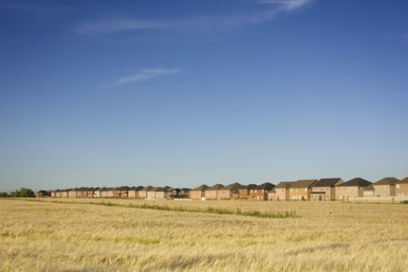 Housing development encroaching on natural land