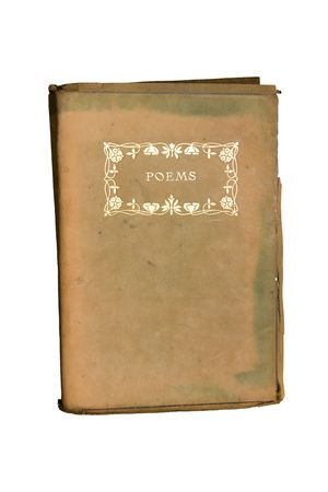 Old poetry book with ornate engraving