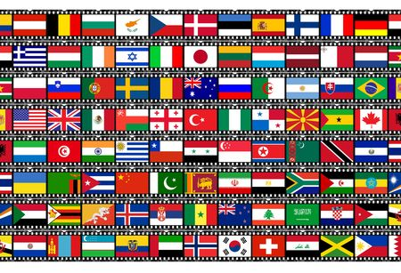 world flags: flags on film strip Stock Photo