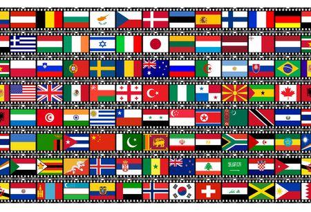 flags on film strip Stock Photo