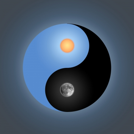 good life: yin-yang day & night Stock Photo
