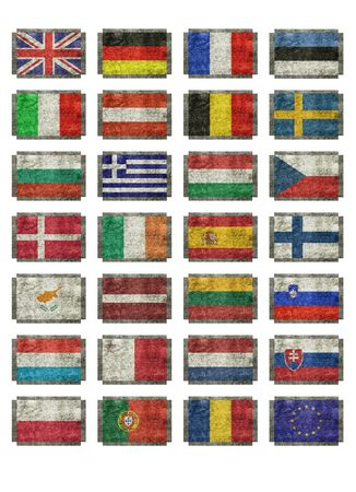 flags of European nations Stock Photo
