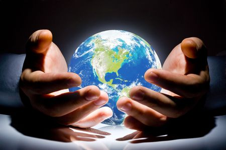 environmental safety: the Earth is in your hands Stock Photo