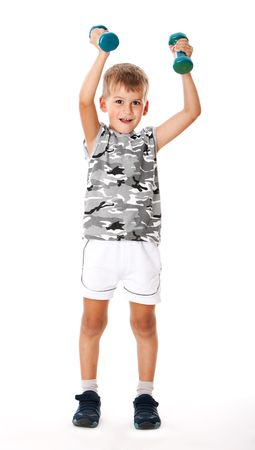 Boy holding dumbbells  isolated on white background Stock Photo - 5721910