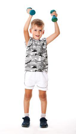 Boy holding dumbbells  isolated on white background Stock Photo - 5721910