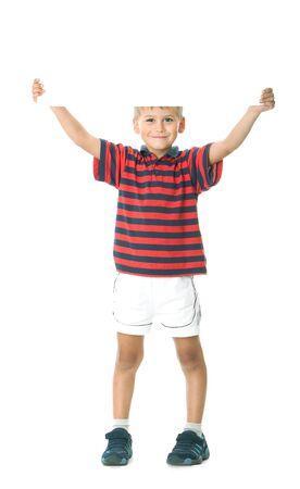 ni�os sosteniendo un cartel: Ni�o, con un cartel aisladas sobre fondo blanco Foto de archivo