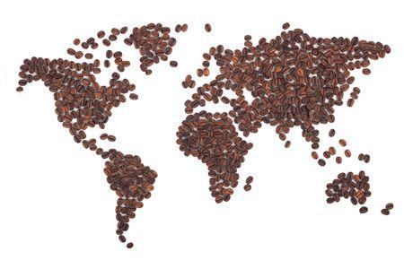 grains of coffee: Mapa de caf� hecha de frijoles sobre fondo blanco  Foto de archivo