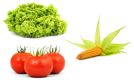 Low-calorie raw vegetables isolated on white background photo