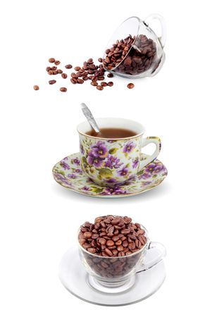 Cup of coffee with seed isolated on a white background   photo