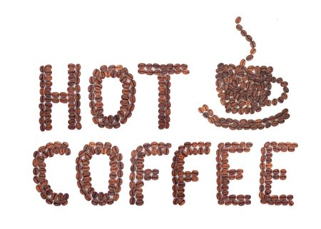 Coffee word made of beans on white background photo