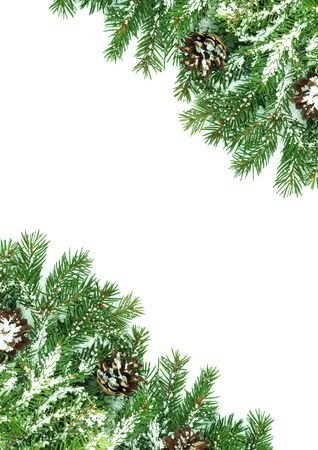 Christmas framework with snow isolated on white background Stock Photo - 5790069