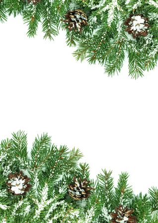 Christmas framework with snow isolated on white background Stock Photo - 5790087