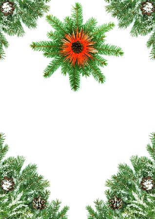 Christmas framework with snow isolated on white background Stock Photo - 5790088