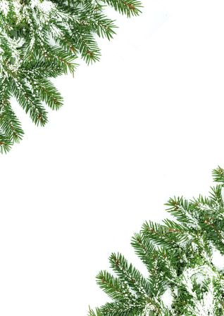 Christmas framework with snow isolated on white background Stock Photo - 5790084