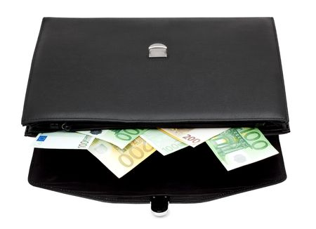 Black briefcase with money on a white background photo