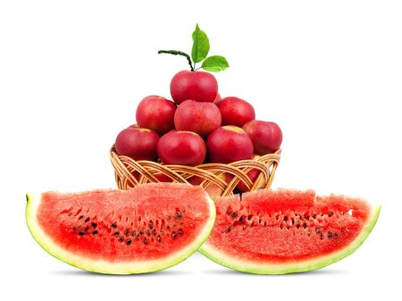 Watermelon and apples  isolated on a white background photo